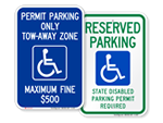 Handicap Permit Required Signs