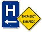 Hospital and Ambulance Entrance Signs