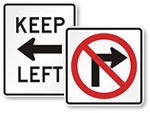 Keep Left or Right Signs