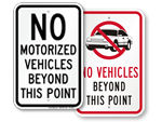 No Motorized Vehicles Signs