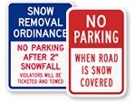 No Parking after Snowfall Signs