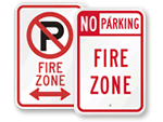 No Parking Fire Zone Signs