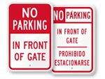 No Parking In Front of Gate Signs