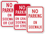 No Parking on Sidewalk Signs