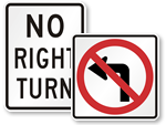 No Turn Signs