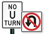 Official DOT No U-Turn Signs