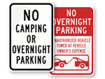 Overnight Parking Signs