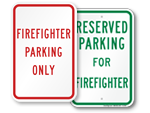 Firefighter Parking Signs