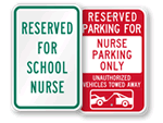 Nurse Parking Signs