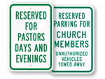 Reserved for Church Parking Only Signs