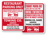 Restaurant Parking Only Signs