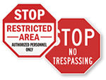 Stop No Trespassing Signs
