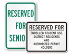 Student Parking Signs