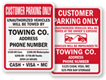 Customer Only Tow Away Signs