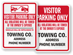 Visitor Parking Tow Away Signs