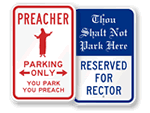 Whimsical Church Parking Signs