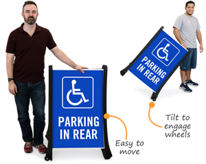 Accessible parking in the rear sign