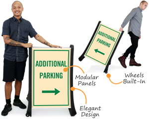 Additional parking a-frame sign with wheels