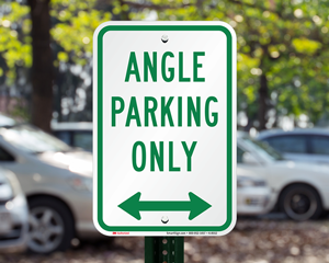 Angled parking only sign