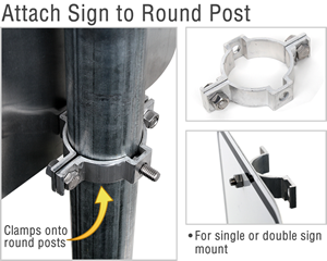 Attach sign to a round post