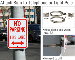 Attach sign to telephone pole or light pole
