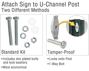 Attach sign to u-channel post