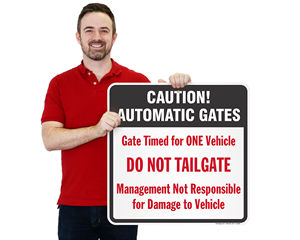 Automatic Gate Caution Signs