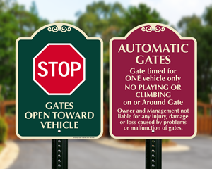 Automatic gate signs