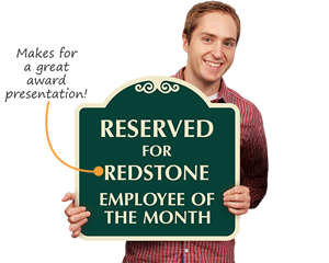 Award employee of the month sign