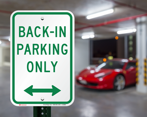 Back-in parking only sign