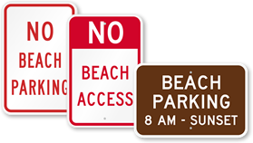 Beach Parking Signs