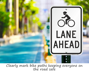 Bike lane ahead sign