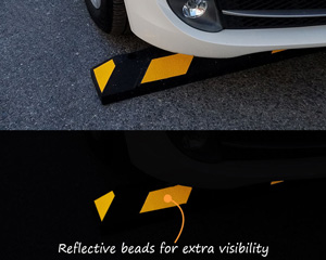 Bright yellow and black parking bumpers