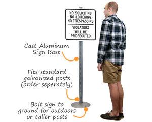 Cast aluminum sign base