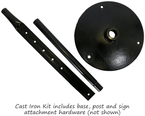 Cast iron sign base kit