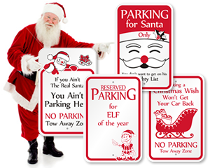 Christmas Parking Signs Funny Santa