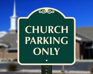 Church parking sign