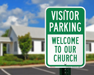 Church visitor parking sign