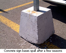 Concrete sign bases spall