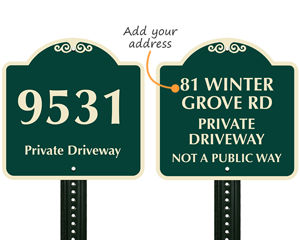 Custom address sign for driveway