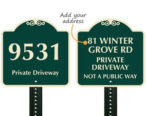 Custom address sign for driveway