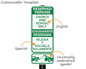 Custom bilingual reserved parking signs