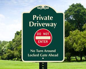 Custom driveway sign