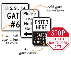 Custom gate signs