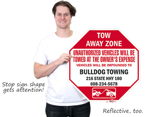 custom tow away zone sign