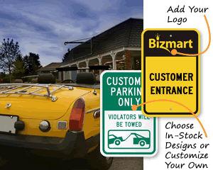 Customer parking signs