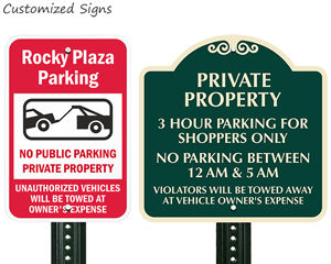 Customized private property no parking signs