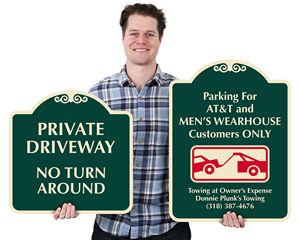 Decorative private driveway signs