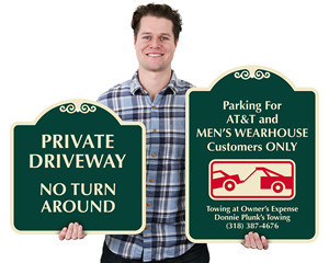Decorative private driveway signs