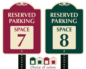 Decorative parking space signs choice of color